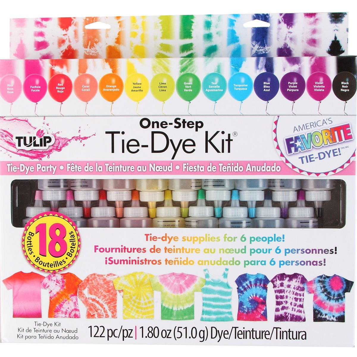 Tie-Dye Kit by Tulip - 18 Colors and 100-pc Rubber Brands - One Step 4336921659