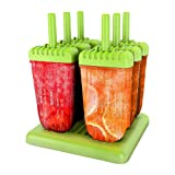 Wellehomi Ice Lolly Moulds Reusable DIY Frozen Ice Cream Pop Molds Ice Lolly Makers with Base (Green)| LifeTime Warranty & 100% Satisfaction