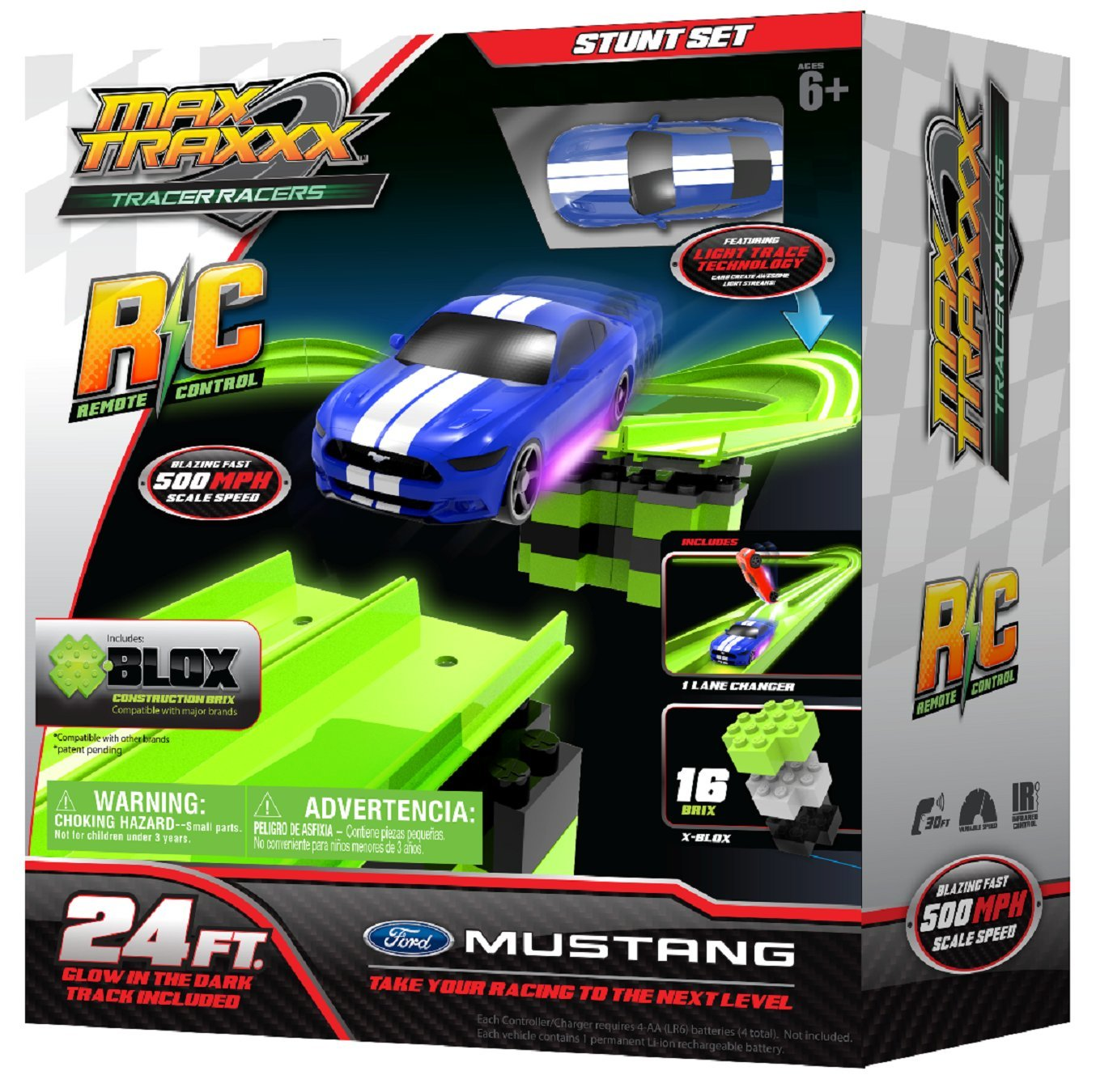 Max Traxxx R/C High Speed Remote Control Stunt Track Set with Officially Licensed 1:64 Scale Ford Mustang Car by Max Traxxx