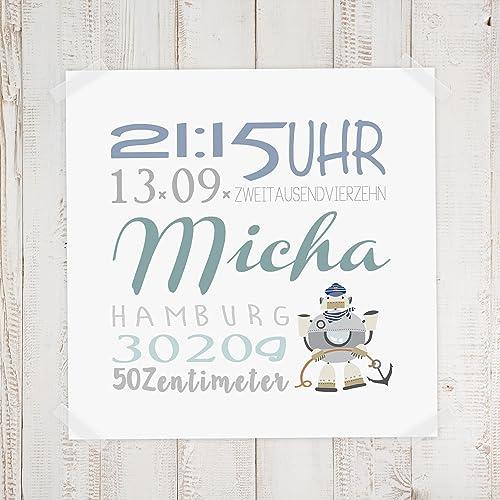 Geburtsdaten Wandbild Micha Amazon De Handmade