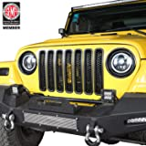 Hooke Road Black Front Grill Mesh Inserts Clip-in Honeycomb Grille Guards for 1997-2006 Jeep Wrangler TJ & Unlimited (Pack of