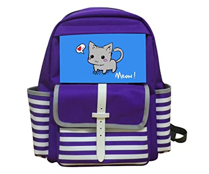 98b7fa52bb Image Unavailable. Image not available for. Color  KIDAY Meow Cat Kids Bag  Backpack Unisex Kindergarten School Rucksack Purple Packback