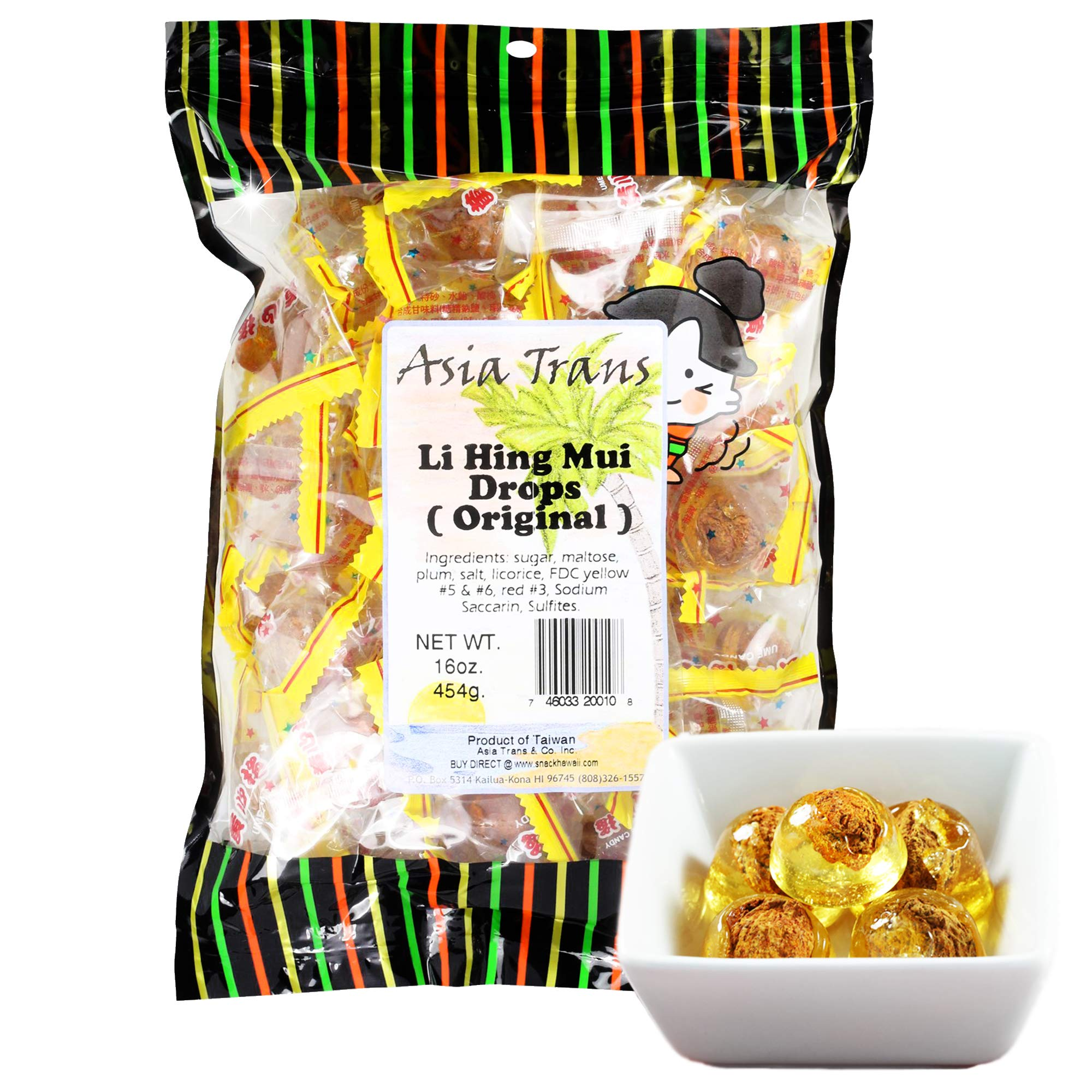 Asia Trans Golden Plum Crack Seed Drops | Hawaiian Favorite | Sweet, Sour, & Salty Dried Asian Plum Hard Candy