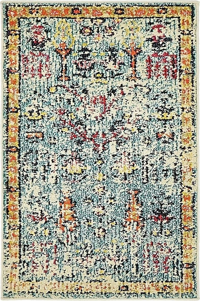 Unique Loom Monterey Collection Vintage Bohemian Tribal Distressed Blue Area Rug 2 0 x 3 0