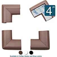 Roving Cove 4-Piece 'Safe Corner Cushion' - VALUE PACK - COFFEE; Premium Childproofing Corner Guard - PRE-TAPED CORNERS; Child Safety Home Safety Furniture Bumpers and Table Edge Corner Protectors