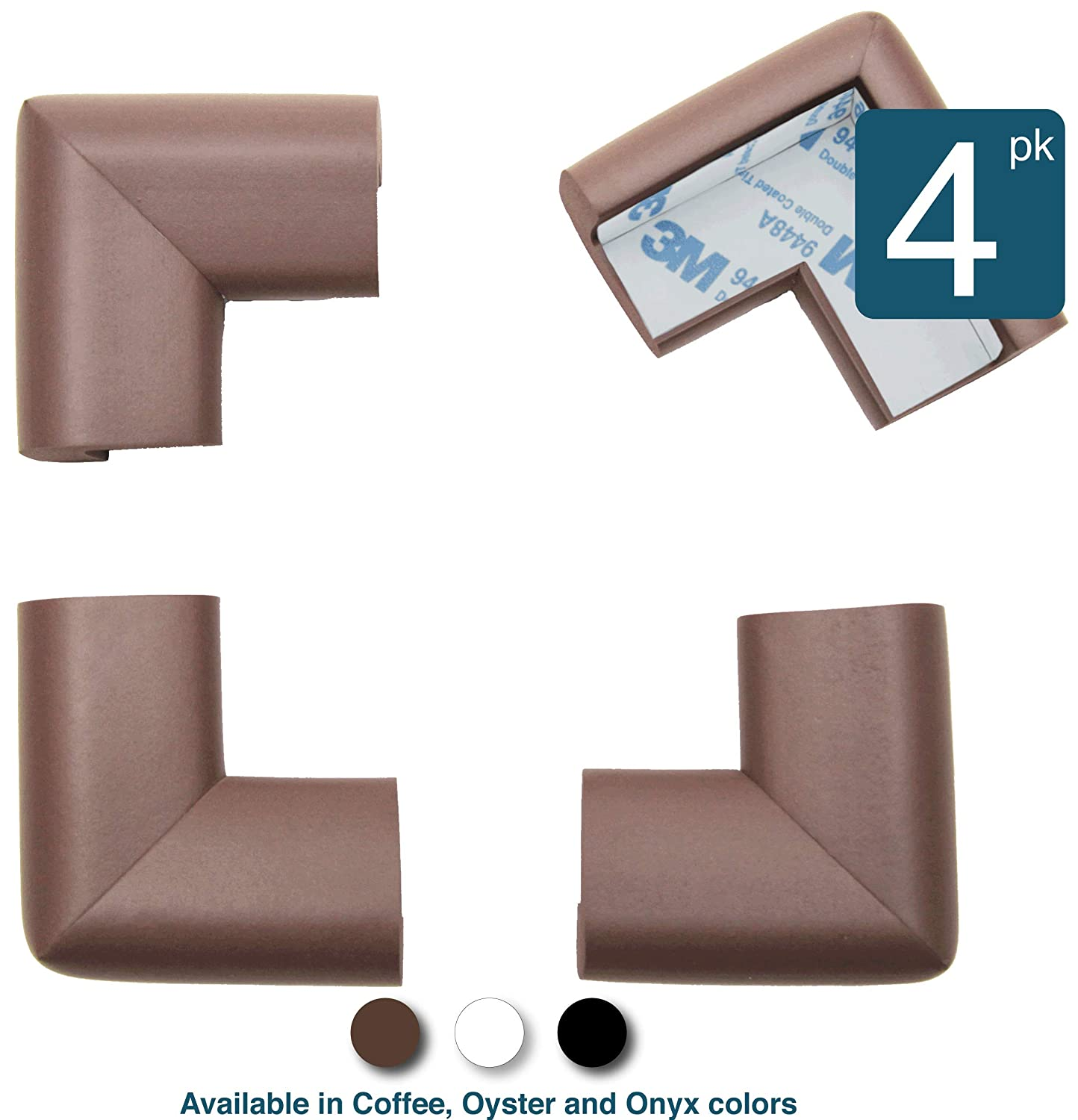 16-Piece Oyster Pre-Taped Foam Rubber Table Furniture Bumper Child Proofing Safe Corner Cushion Roving Cove White Soft Caring Baby Corners Baby Safety Corner Guards Edge Protectors
