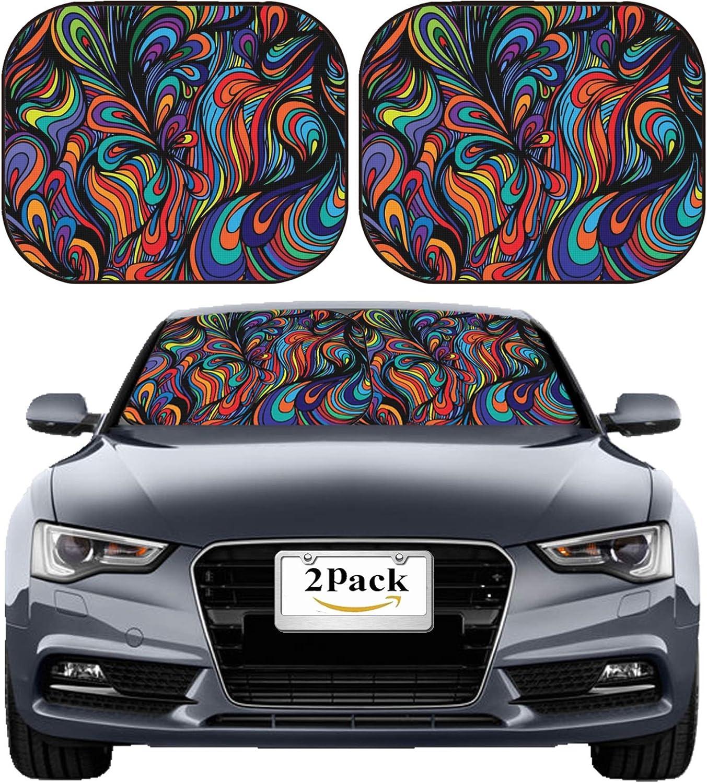 MSD Car Sun Shade Windshield Sunshade Universal Fit 2 Pack, Block Sun Glare, UV and Heat, Protect Car Interior, Image ID: 13534683 Abstract