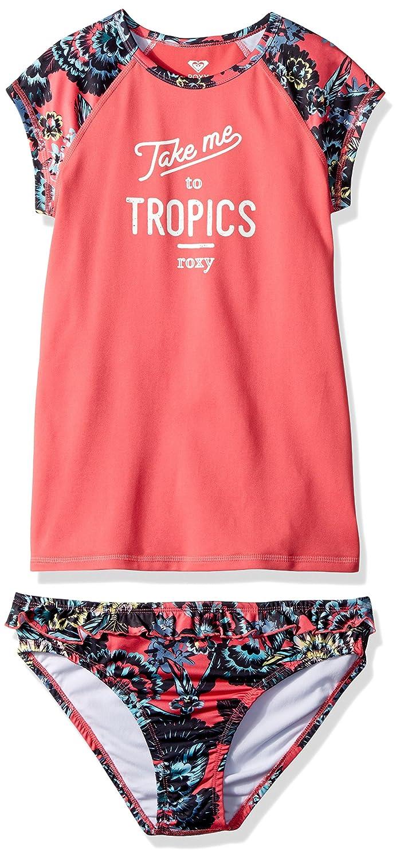 Roxy Girls' Big Salt Memory Rashguard and Bottom Swimsuit Set ERGWR03071