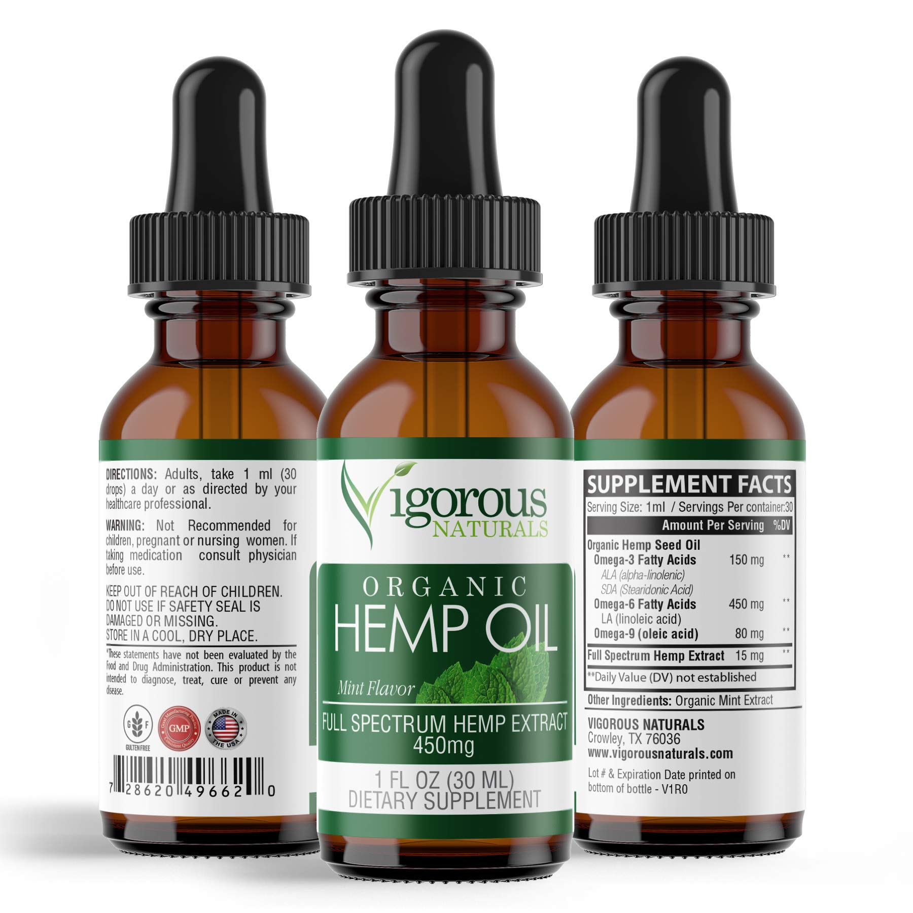 Vigorous Naturals Hemp Oil Drops- 450mg Full Spectrum for Pain Relief & Anti Anxiety Support- Natural Extract Seed Liquid Supplement- Helps Stress, Sleep, Inflammation, Mood- Organic Mint Flavor