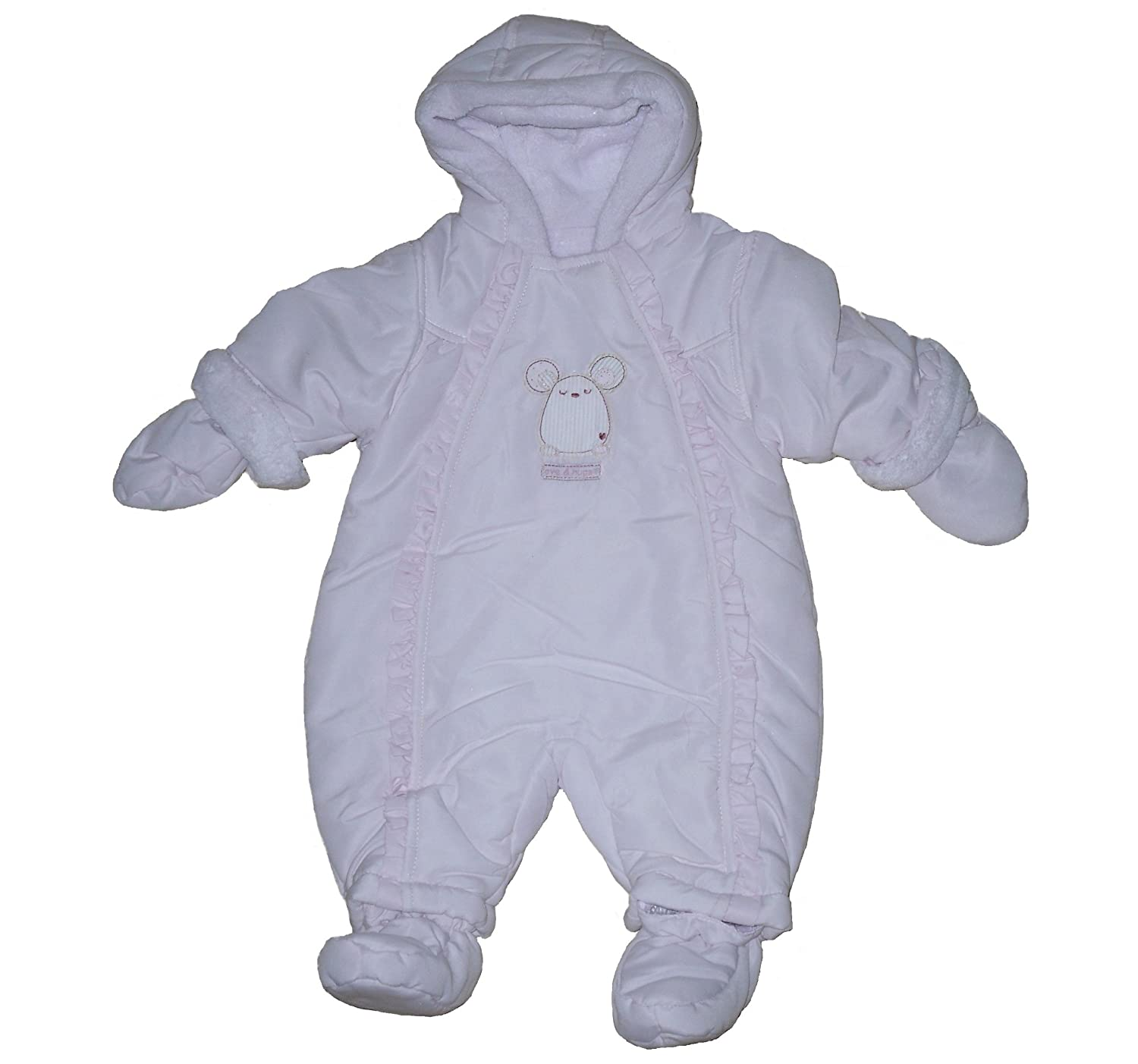 BABY GIRLS SNOWSUIT EX MOTHERCARE NEWBORN UPTO 18 MONTHS NEWBORN