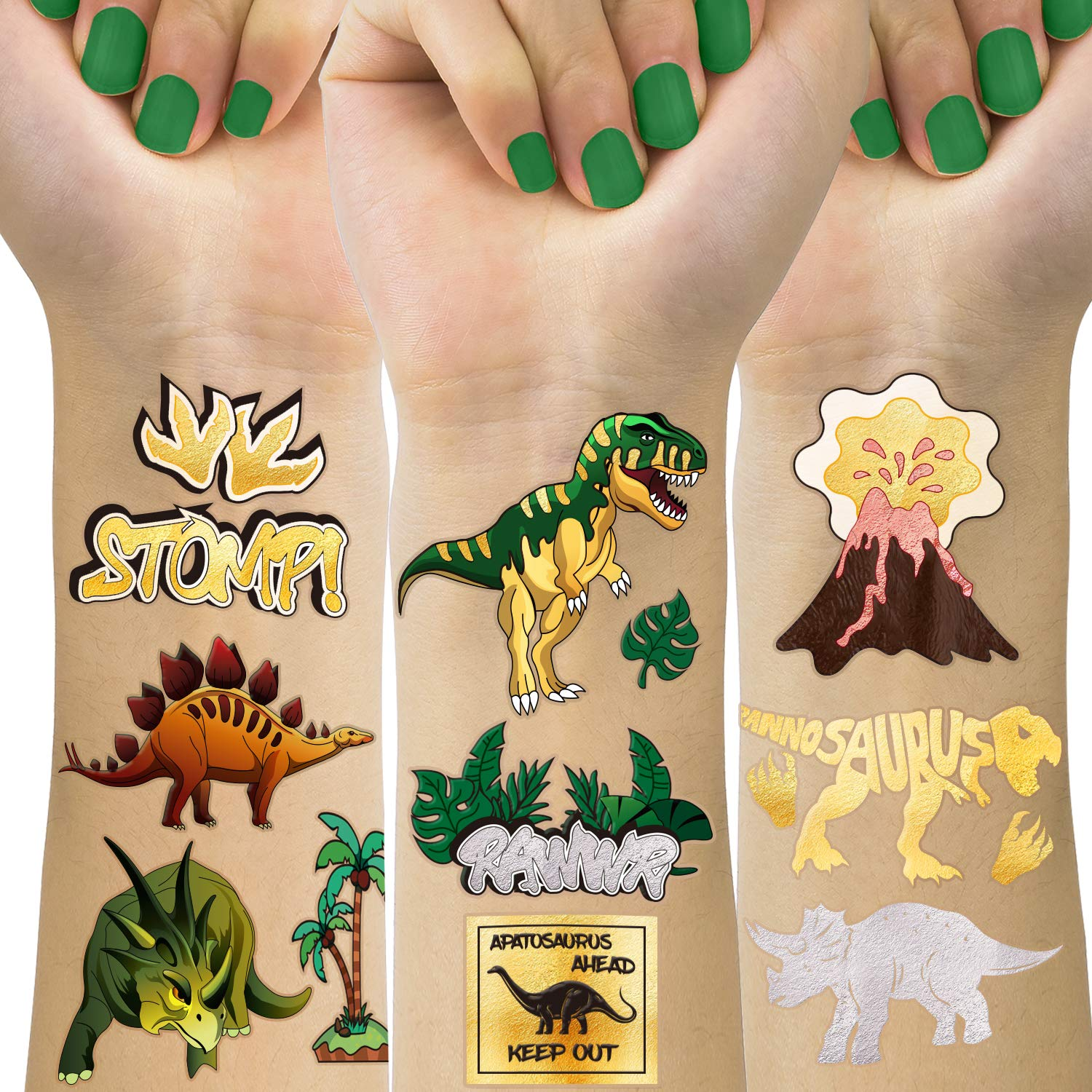 TMCCE Dinosaur Temporary Tattoos for Kids Dinosaur Tattoos for Dinosaur Birthday Party Supplies Favors
