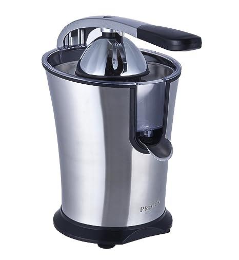 PRIXTON - Exprimidor Electrico de Naranjas Automatico, Exprime Zumos Fácilmente con 160 W de Potencia y 800 ml de Capacidad, Negro/Acero Inoxidable, ...