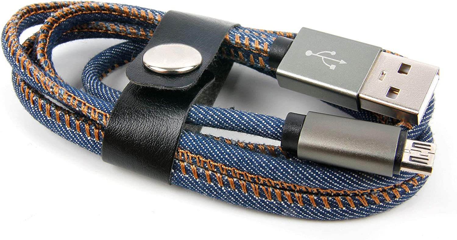 MD 60386 Compatible with The Medion LifeTab P9701 DURAGADGET 1M Denim Style Jeans Micro USB Data Sync Cable
