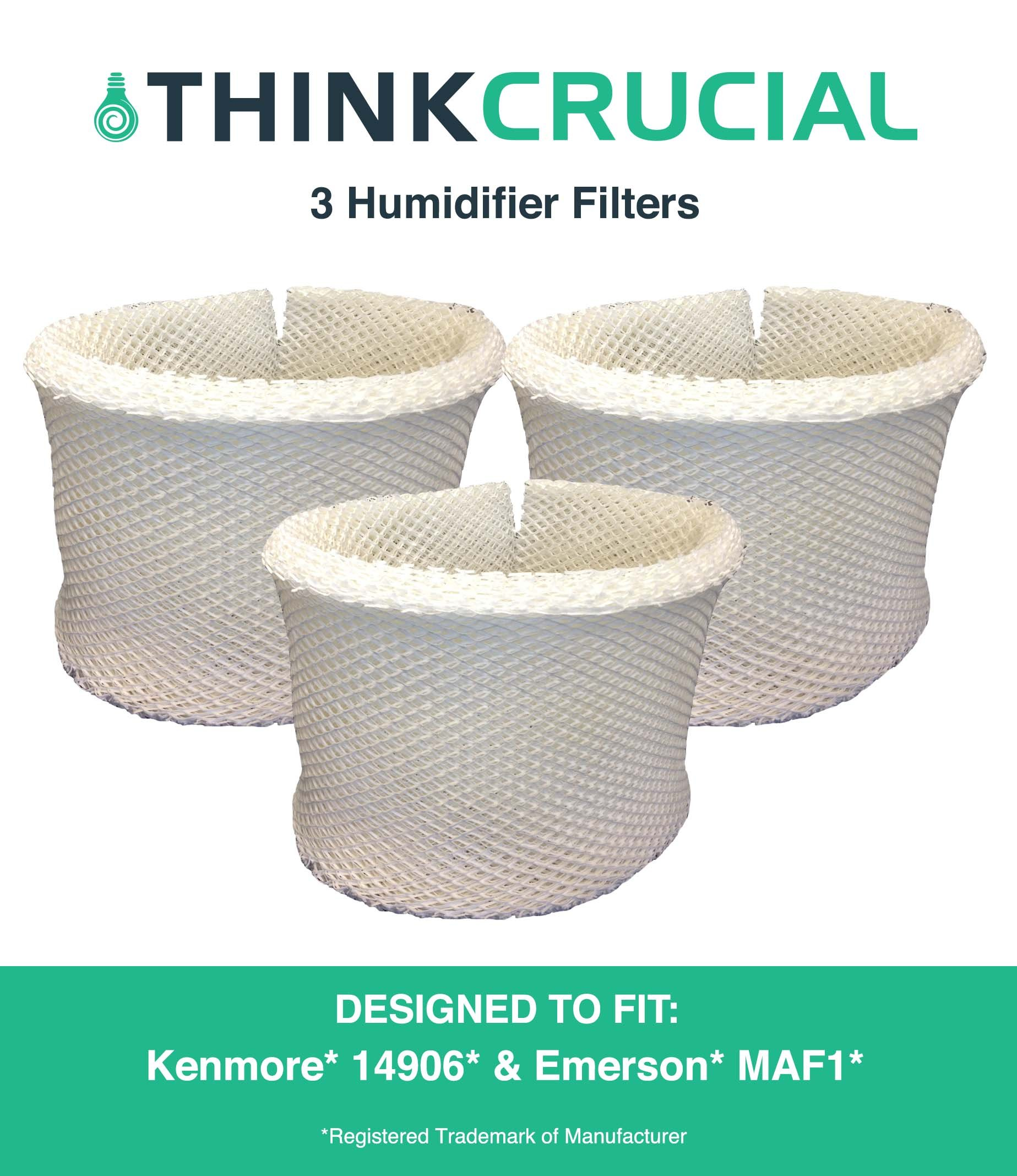 Crucial Air Humidifier Wick Filter Replacement - Compatible with Kenmore Air Filters Part # 53295, EF1, EF-1 - Models 14906 EF1, MAF1, MA-0950, 1200, 1201, 09500 - Bulk for Allergy Sufferers (3 Pack) by Crucial Air