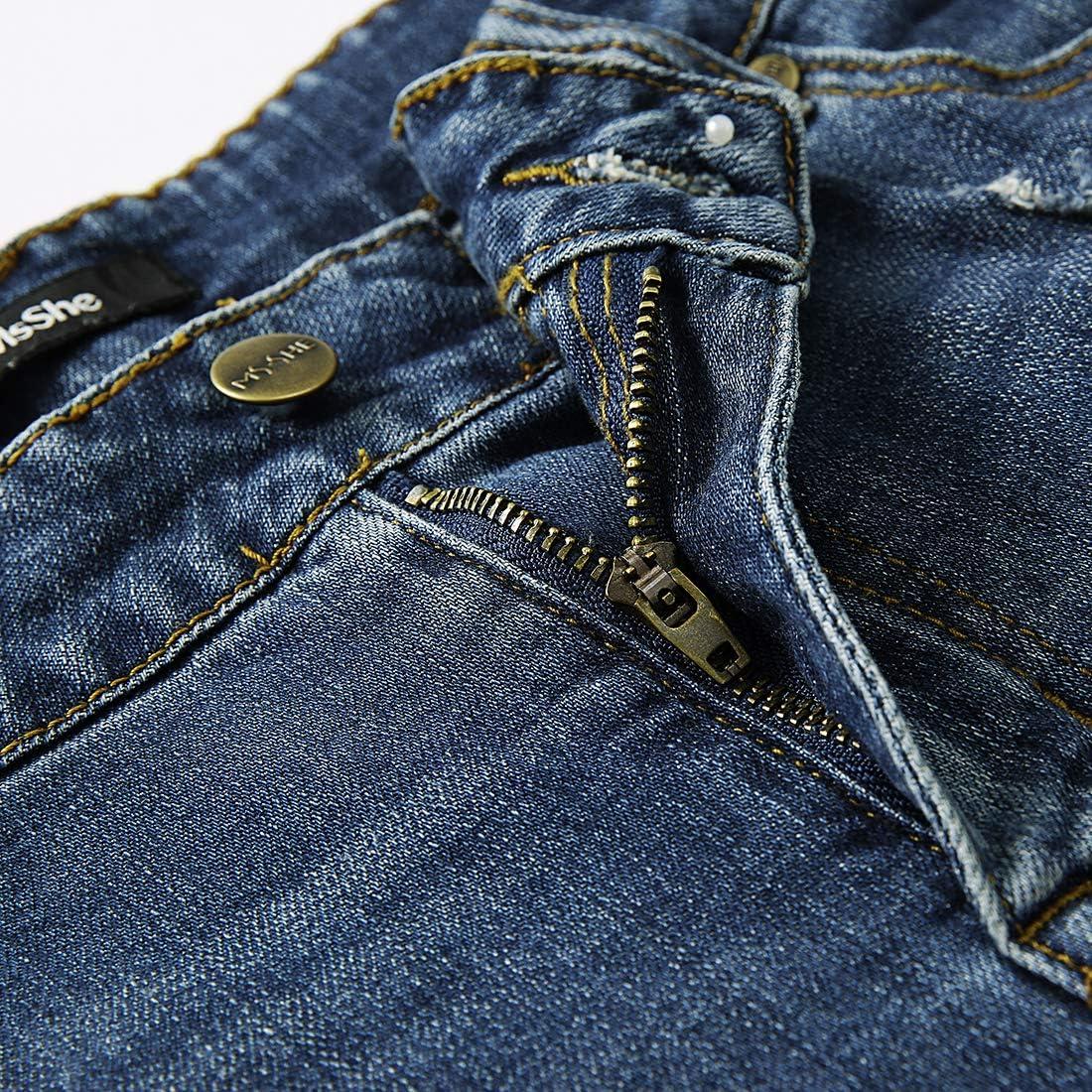 MSSHE Womens Plus Size Destroyed Washed Short Jeans Pants Denim Shorts
