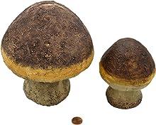 Muwse 2X Deko-Stein-Pilze 13x13x17cm und 8x8x12cm aus Poly,UV- und Witterungs-unempfindlich, naturgetreu handbemalter Kunst-Stein