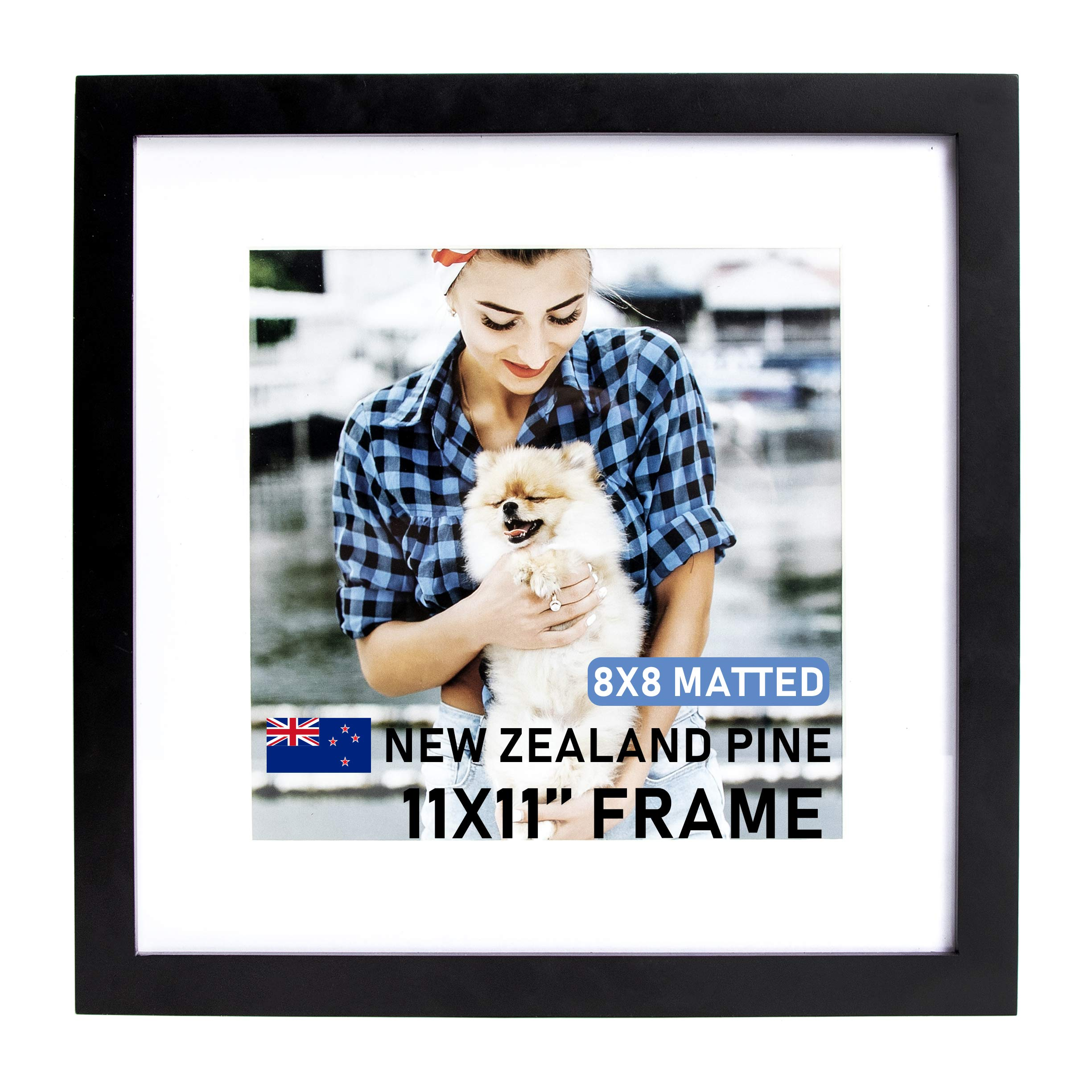 Beyond Your Thoughts Wood + Real Glass (Hang/Stand) 11X11 Black Picture Photo Frame with Matted for 8X8 Photo for Wall and Table Top (1 Pack) by Beyond Your Thoughts