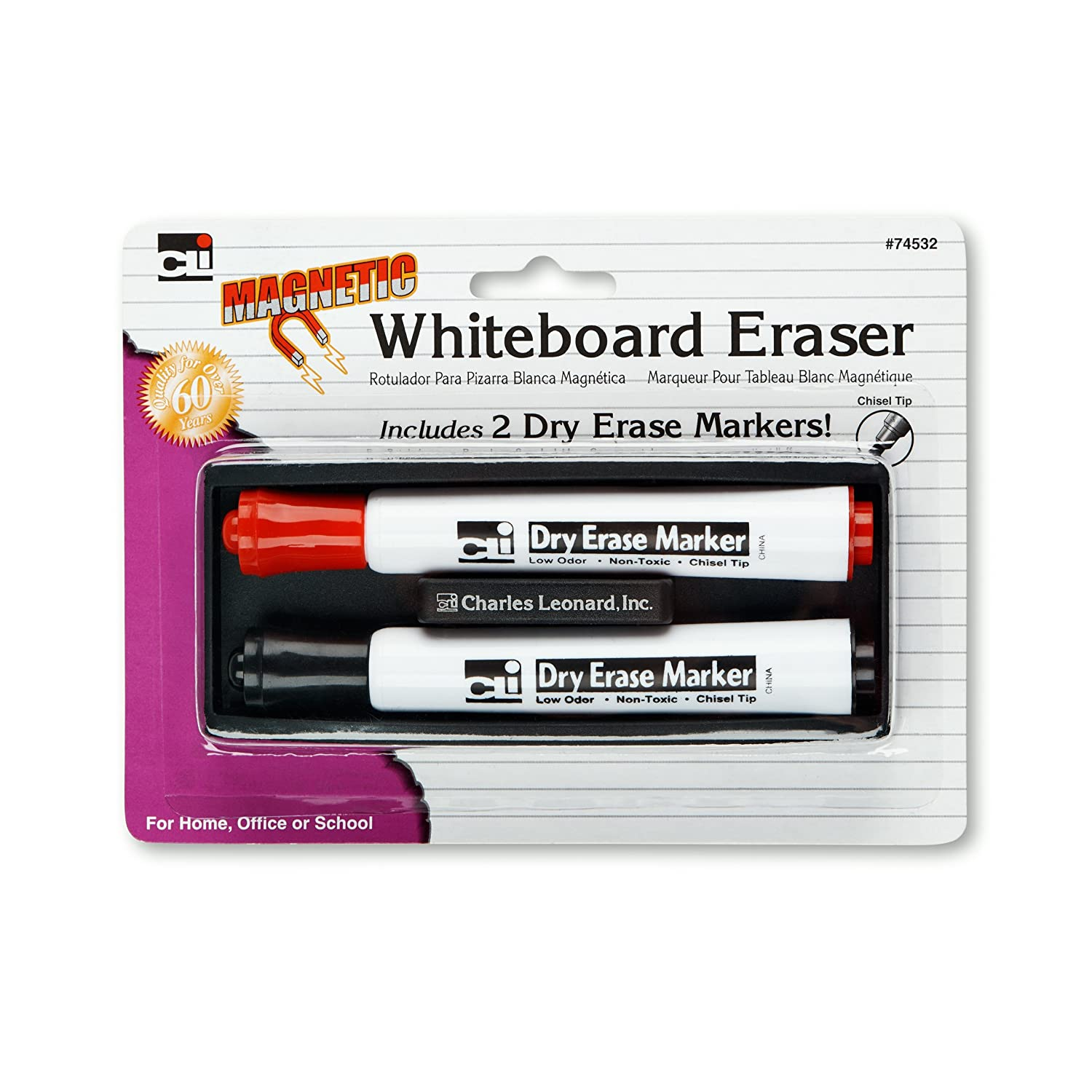 Charles Leonard Magnetic Whiteboard Eraser with 2 Dry Erase Markers, 1 Pack (74532)