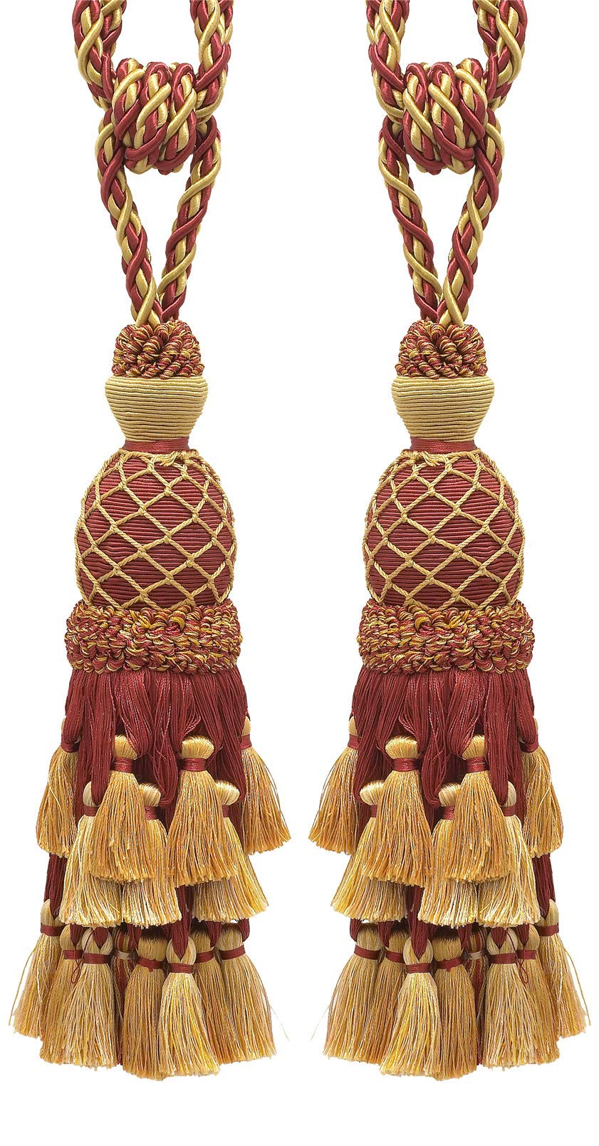 Pair of Lavish Burgundy Red, Gold Large Curtain & Drapery Tassel Tieback/Large 11'' Tassel, 34'' Spread(Embrace) 7/16'' Cord, Imperial II Collection Style# TBIL-1 Color: Burgundy Gold - 1253 by DecoPro