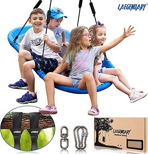 60 Inch Platform Tree Swing for Kids and Adults Giant Flying Outdoor Indoor Saucer Hammock Large Surf Tire Swingset Accessories Toys – 2 Straps, 2 Carabiners, 1 Swivel – 600 Pounds Yard Swings Set