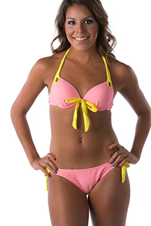 44fb690a2 Amazon.com  Lena Style Women s Hot Sexy Push up Top Bikinis Sets Girl s  Swimsuit Pink  Clothing