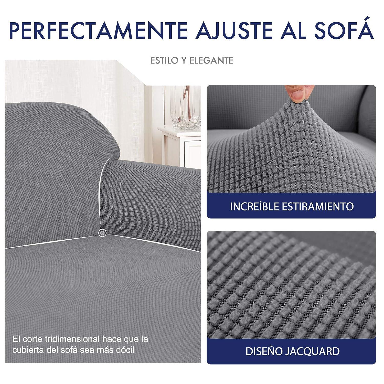 subrtex 1 Pieza Funda de Sofá Poliéster Elástica Cubierta de Asiento Forro de Sofá Doméstico (2Plazas, Gris Claro)