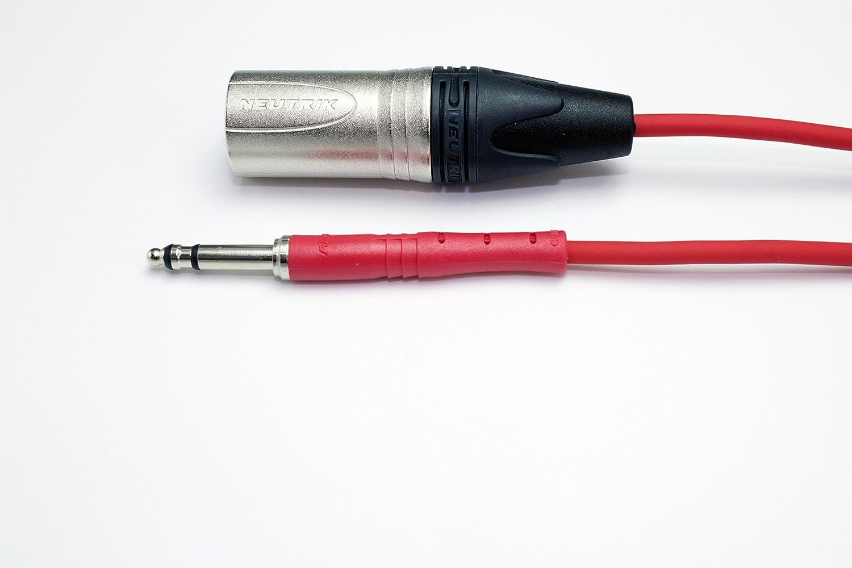 Neutrik TT Bantam Jack to Male XLR Cables 1 Metre, Black Pro Patch Leads 4.4mm not 6.35mm