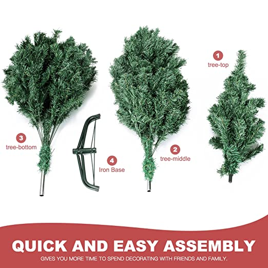 f570b1e4c068 Amazon.com  LAGRIMA Unlit Christmas Tree 6FT Artificial Xmas Pine Tree with Solid  Metal Stand Perfect Indoor Outdoor  Home   Kitchen