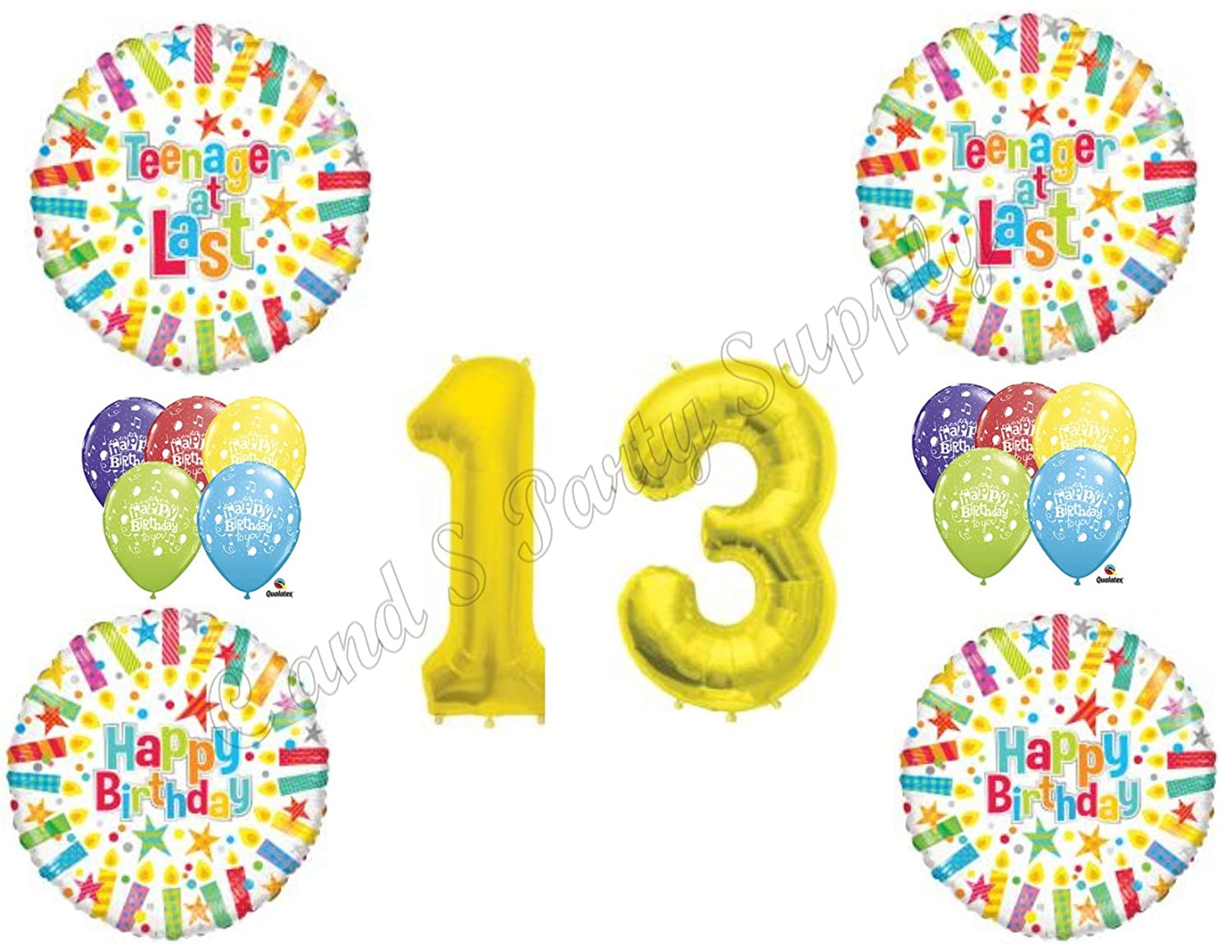 Amazon 13TH THIRTEENTH Teenager At Last Happy Birthday Balloons Decoration Supplies By Anagram Toys Games