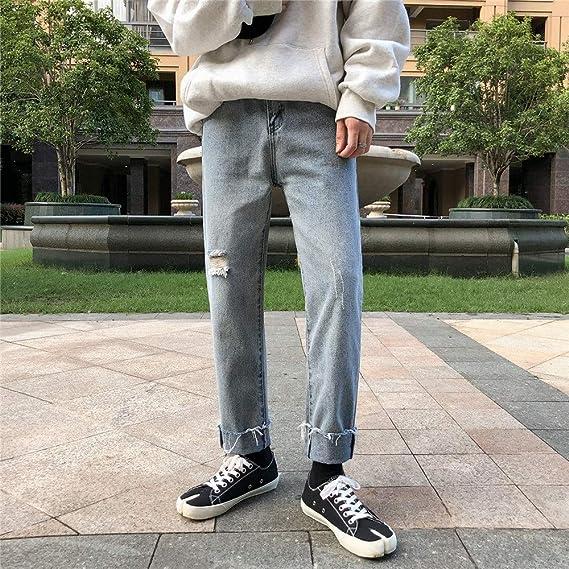 デニム スキニー パンツ カジュアル ブラック ストレッチ スリム ジーンズ メンズ ファッション ブラック ブルー M L XL 2XL 「B&ji-nnzu」 (Color : ブルー, Size : 2XL)