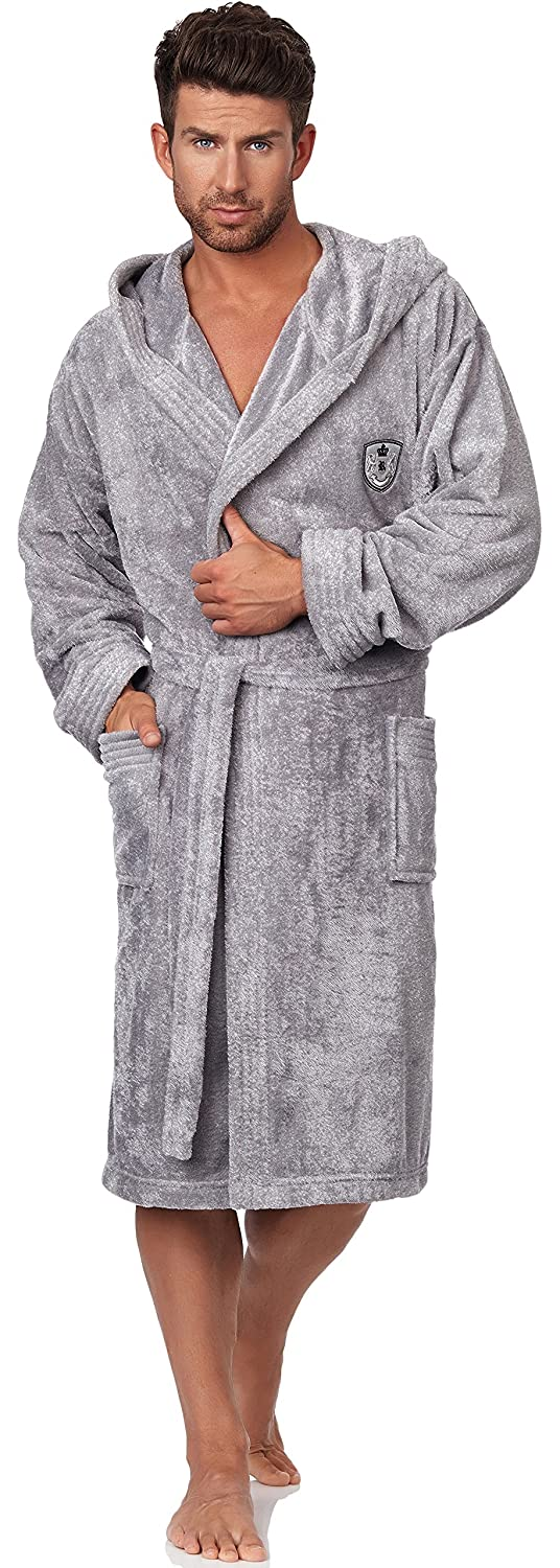 L&L Men's Hooded Bathrobe LL0039