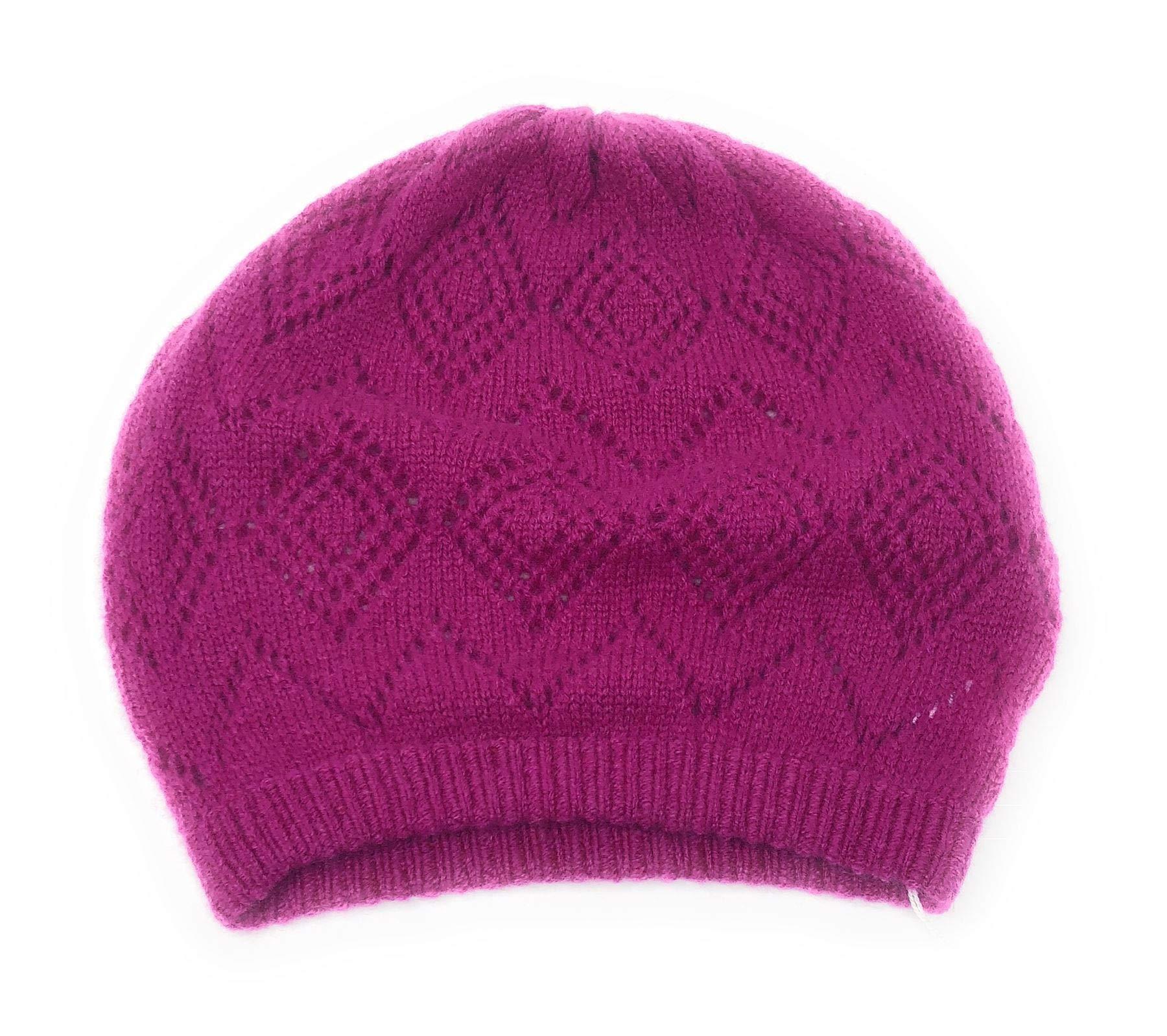 100% Cashmere Ladies Lacy Knit Beanie Hat - Cerise Pink