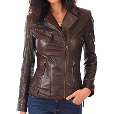 KYZER KRAFT Womens Leather Jacket Bomber Motorcycle Biker Real Lambskin Leather Jacket for Womens Collection-03 at Women's Coats Shop