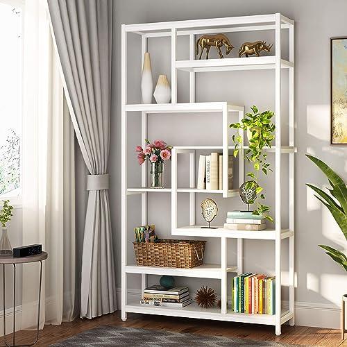 Cheap Tribesigns 8-Shelves Staggered Bookshelf modern bookcase for sale