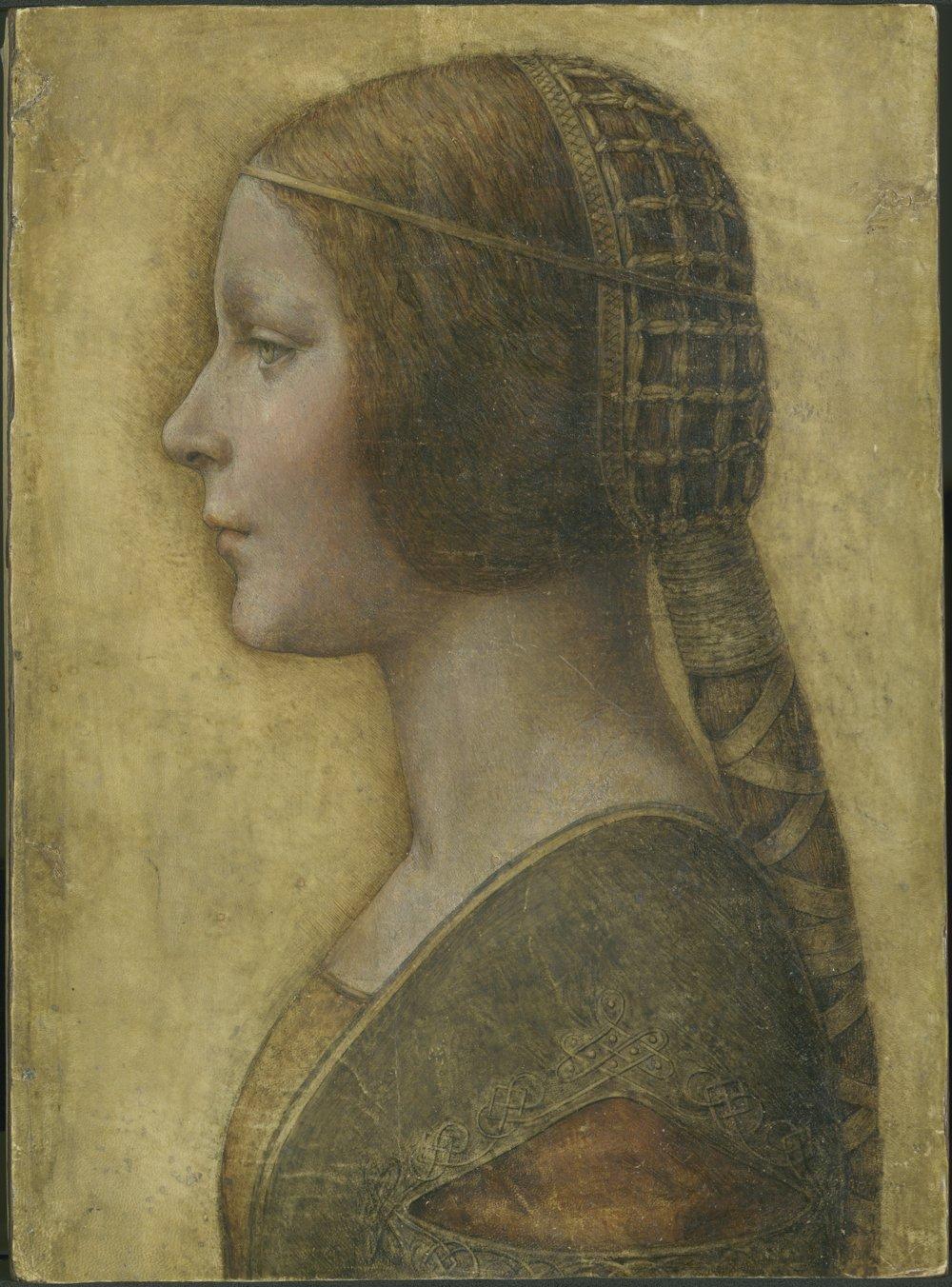Leonardo Da Vinci - Bella Principessa - Large - Archival Matte - Brown Frame Vintage Wall Art Poster Picture Giclee Artwork Modern Contemporary & Fine Art Print