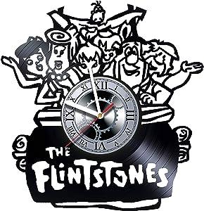 THE FLINTSTONES - Wall Clock Made of Vinyl Record - Decor Handmade Art Design - Great gifts idea for birthday, wedding, anniversary, women, men, friends, girlfriend boyfriend and teens, cartoon