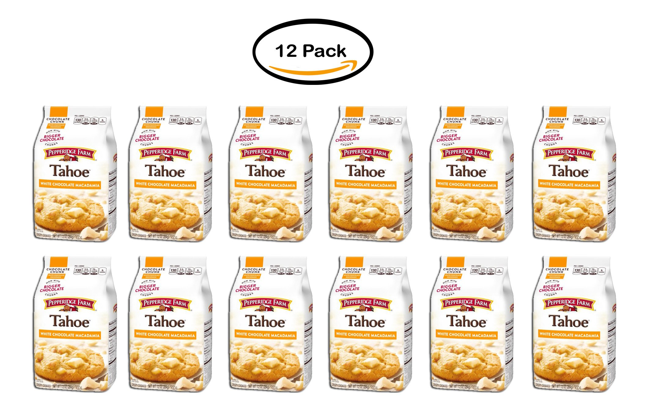PACK OF 12 - Pepperidge Farm Tahoe White Chocolate Macadamia Crispy Cookies 7.2 oz. Bag by Pepperidge Farm