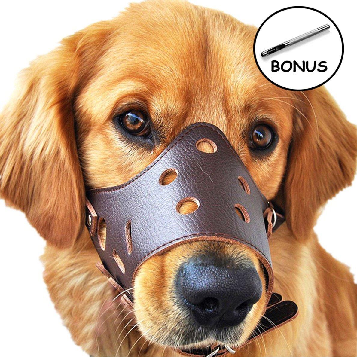 JUNMO® chien en cuir Muselière anti-aboiement pour les grands chiens de petite taille moyenne JUNMO Tech
