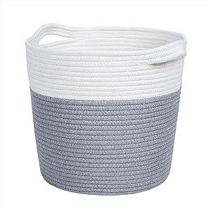 Woven Rope Storage Basket, Decorative Basket, Toy Storage Blanket Storage Nursey Basket Bins for Clothes, Blankets, Towels, Sofa Throws, Toys or Nursery