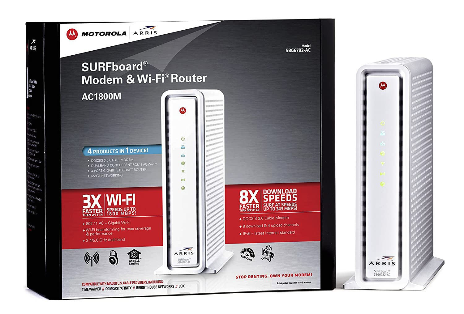 ARRIS SURFboard AC1750 DOCSIS 3 0 Cable Modem Router (SBG6782) Certified  with Comcast Xfinity, Time Warner Cable, Charter, Cox, Cablevision, and  more