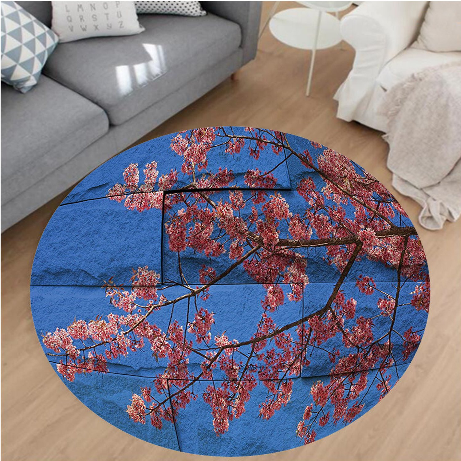 Nalahome Modern Flannel Microfiber Non-Slip Machine Washable Round Area Rug-Rustic Thai Sakura Blossom Mural Branch with Flowers Spring Floral Beauty Print Pink Blue area rugs Home Decor-Round 67'' by Nalahome