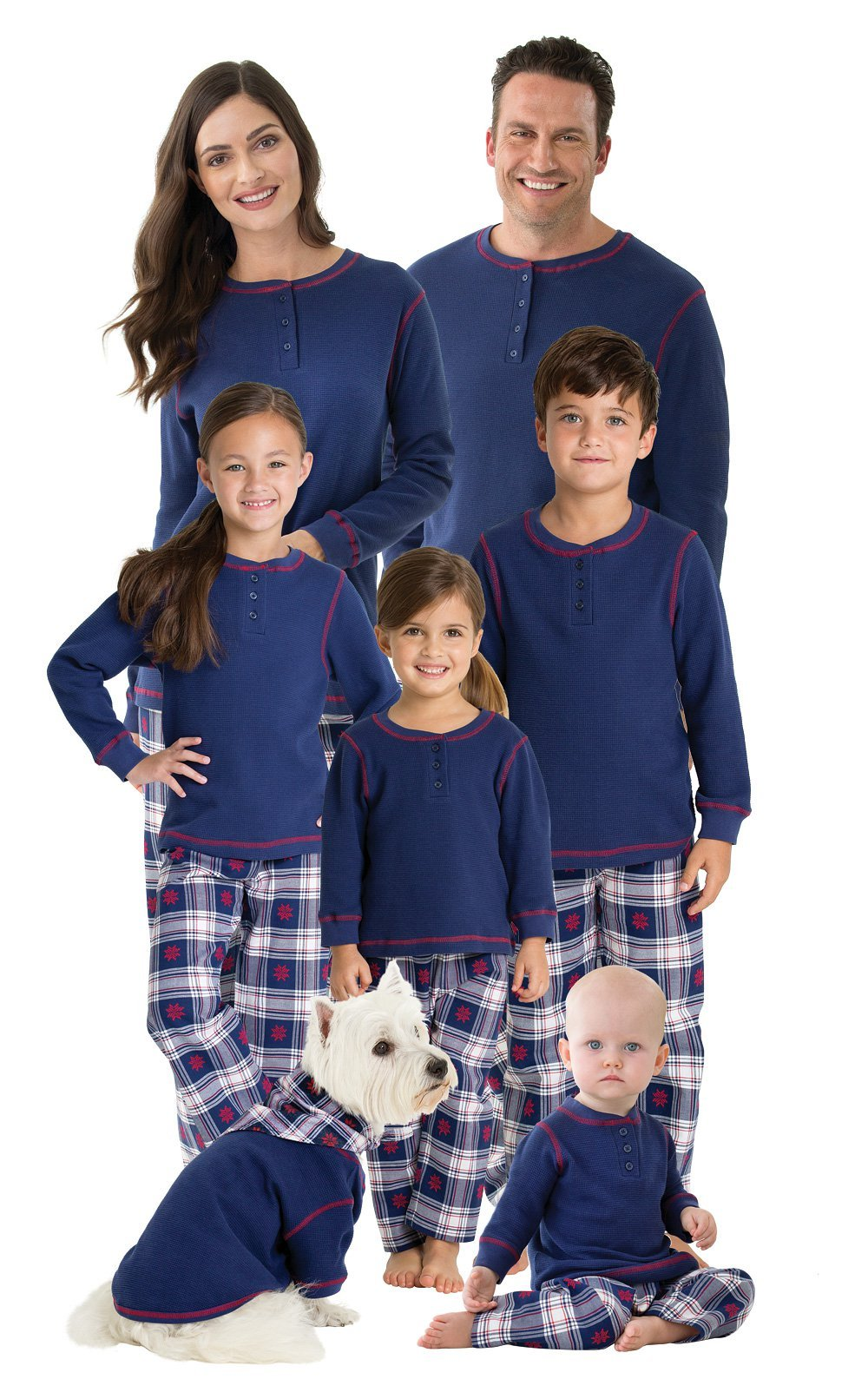 ... PajamaGram Family Christmas Pajamas Set – Snowfall Plaid Matching  Pajamas 50a6e6f7c