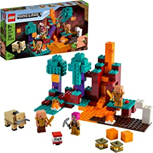 LEGO Minecraft The Warped Forest 21168 Hands-on Minecraft Nether Creative Playset; Fun Warped Forest Building Toy Featuring Huntress, Piglin and Hoglin, New 2021 (287 Pieces)