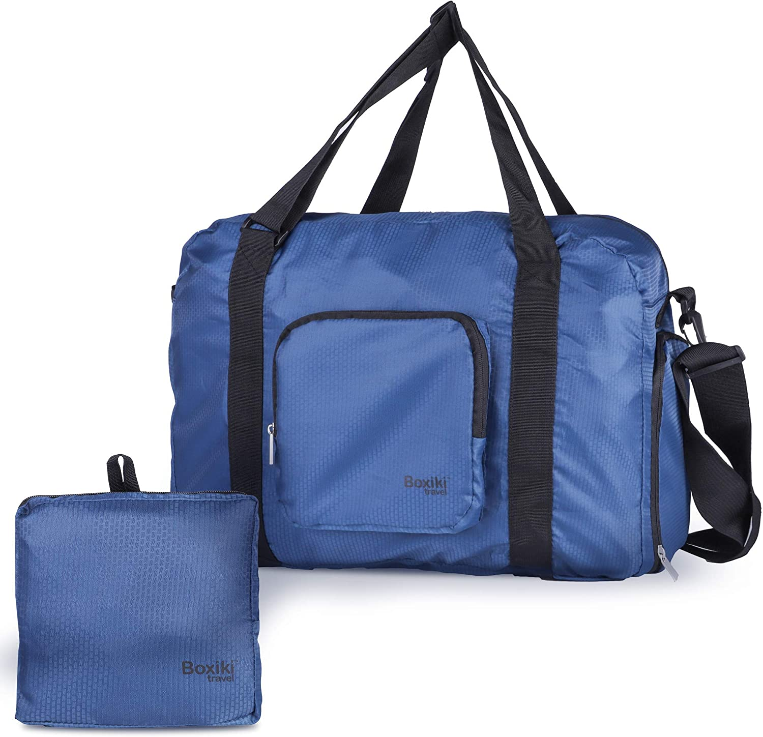 Boxiki Travel Foldable Duffle Bag Large Duffel Bag for Women and Men, Gym Bag for Women with Shoe Compartment, Compact Travel Luggage Gym Duffle Bag – Packable Sports Travel Duffel Bag Blue