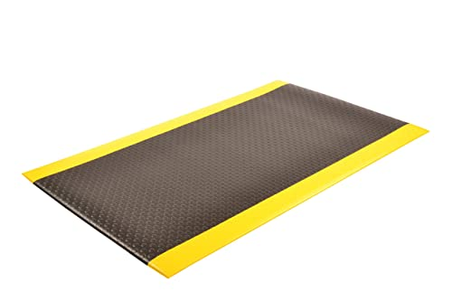 NoTrax 417 Bubble Sof-Tred Safety Anti-Fatigue Mat with Dyna-Shield PVC Sponge, for Dry Areas, 3 Width x 12 Length x 1 2 Thickness, Black Yellow