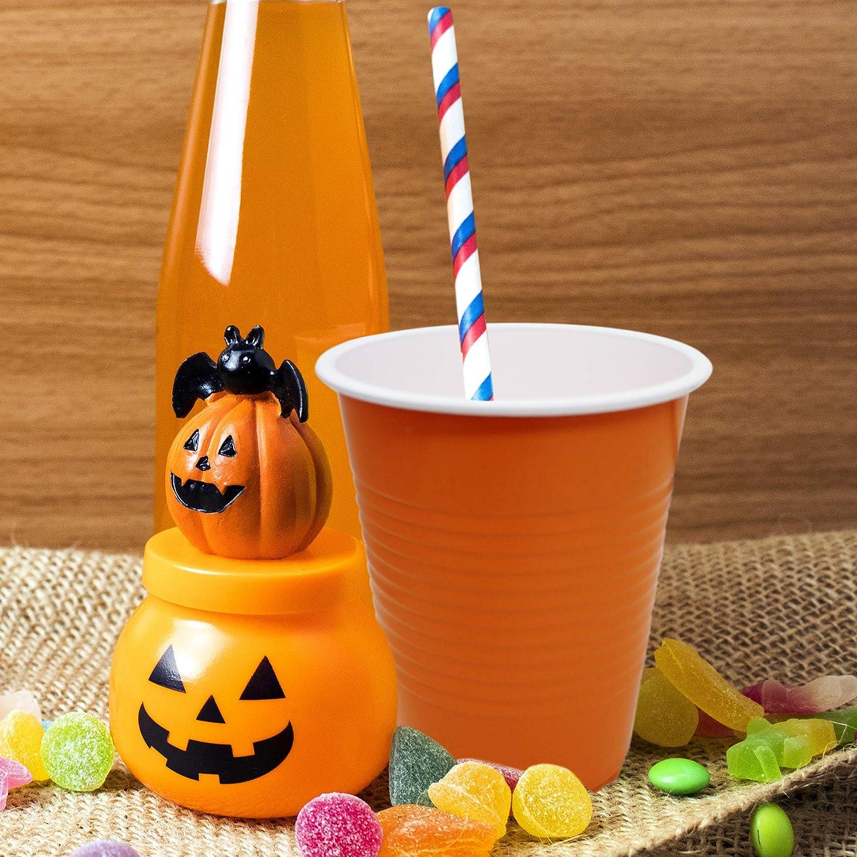 Les Barbecues jetables 50 Orange et 50 Noir Etc. Les F/êtes Parfait pour Le Beer Pong THE TWIDDLERS 100 Grands Gobelets en Plastique /à Th/ème d/'Halloween