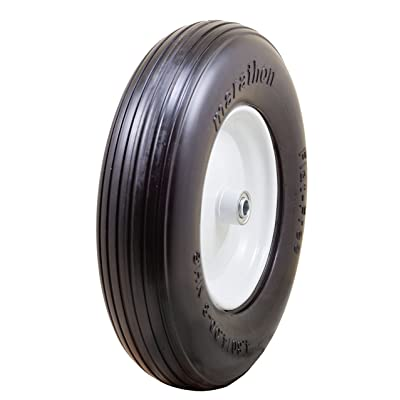 "Marathon 4.80/4.00-8"" Flat Free Tire on Wheel, 3"" Hub, 5/8"" Bearings, Ribbed Tread: Garden & Outdoor"