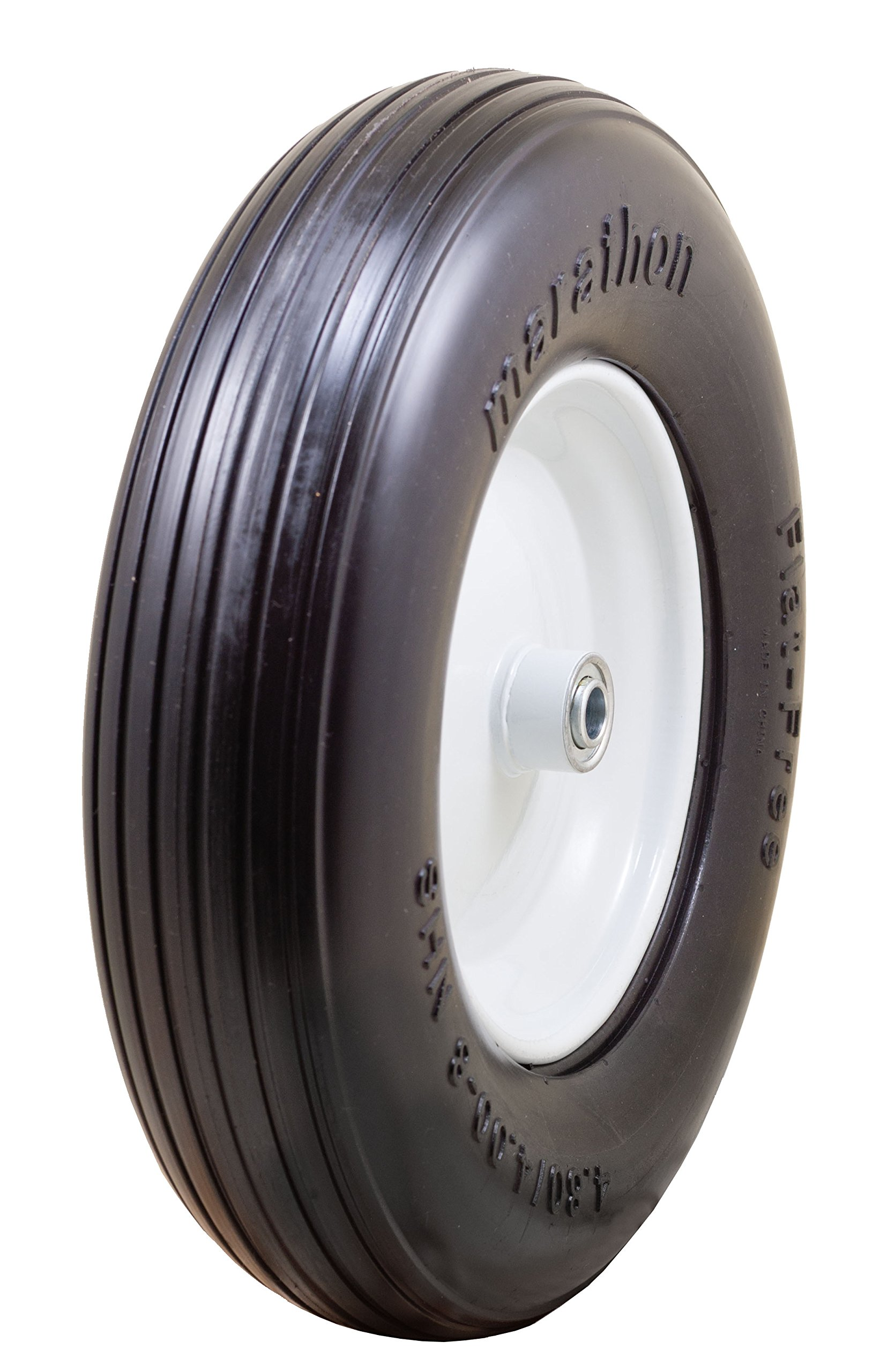Marathon 4.80/4.00-8'' Flat Free Tire on Wheel, 3'' Hub, 5/8'' Bearings, Ribbed Tread
