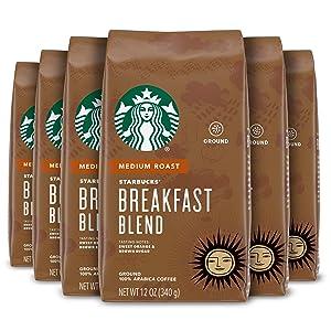Starbucks Medium Roast Ground Coffee — Breakfast Blend — 6 bags (12 oz. each)