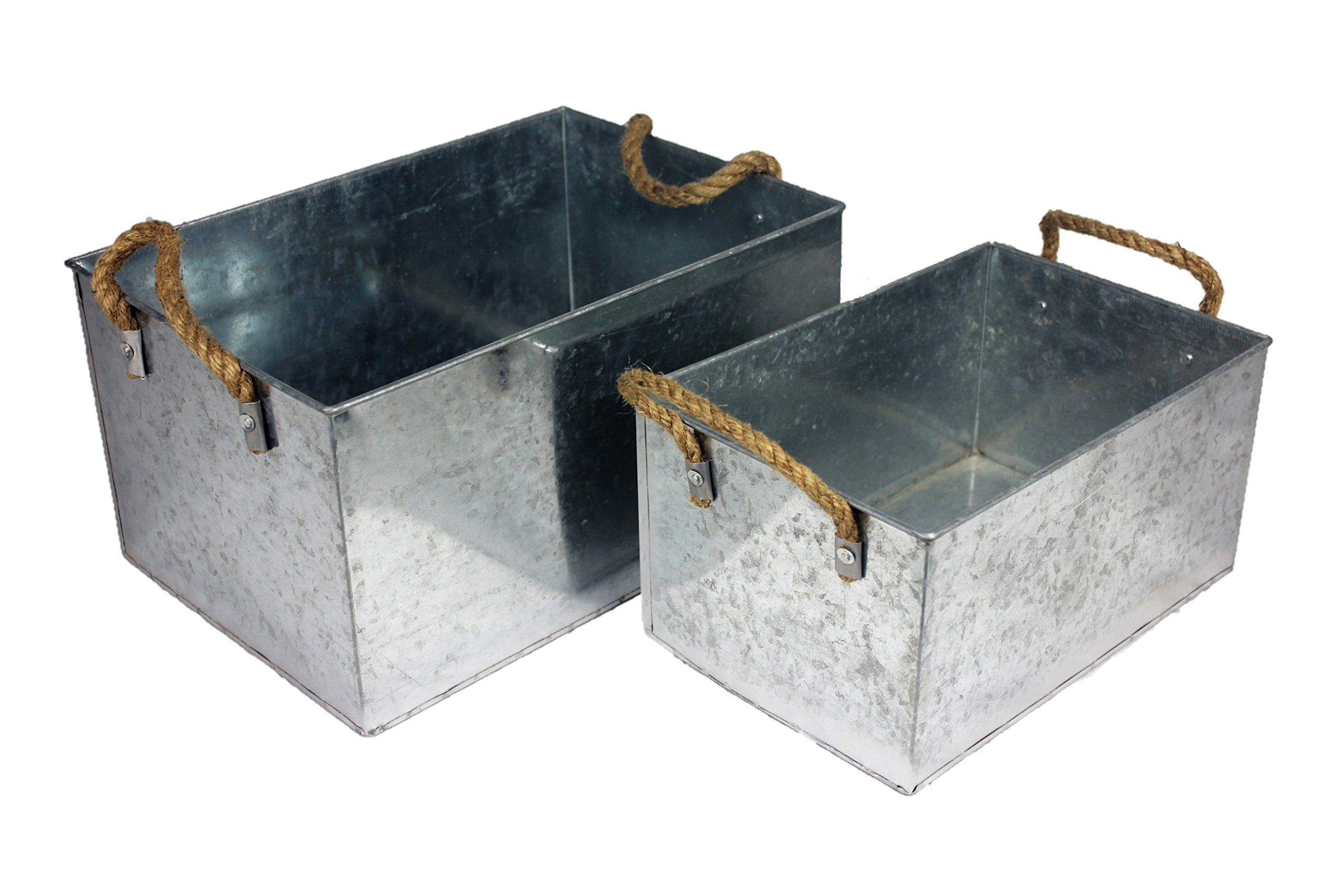 BW Decor Spotted Galvanized Metal Storage Bin Basket With Rope Handle Country Home Kitchen Deco